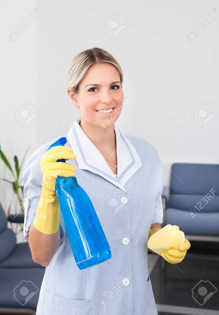 Young Happy Maid Holding Bottle And Sponge Stock Photo - 20962318