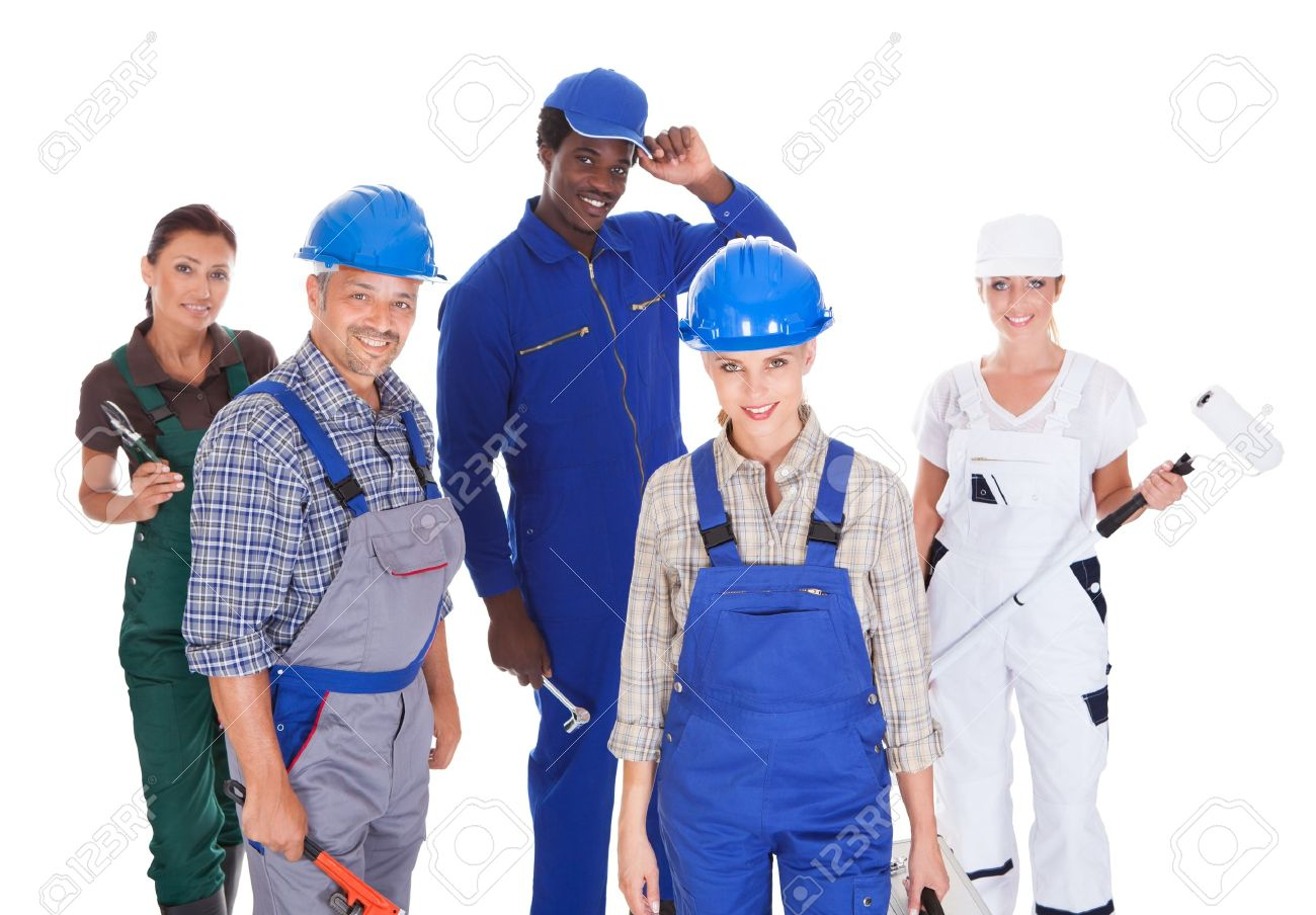 Group Of People Representing Diverse Professions On White Background Stock Photo - 21328403
