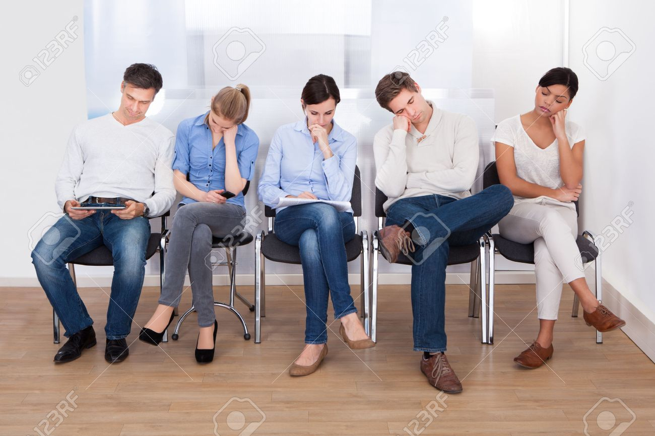 Young Group Of People Sleeping On Chair In A Waiting Room Stock ...