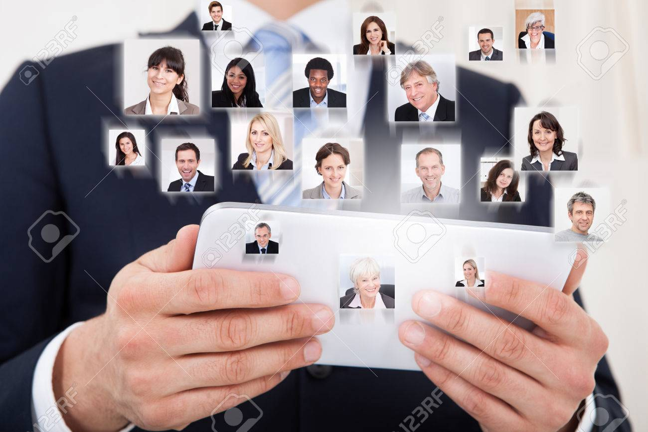 Collage of business people with businessman using digital tablet representing global communication Stock Photo - 30338263