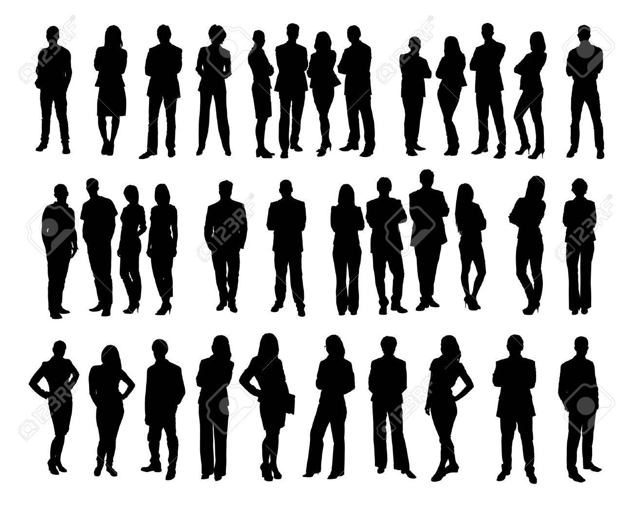 Brand new Collage Of Silhouette Business People Standing Against White  NF31