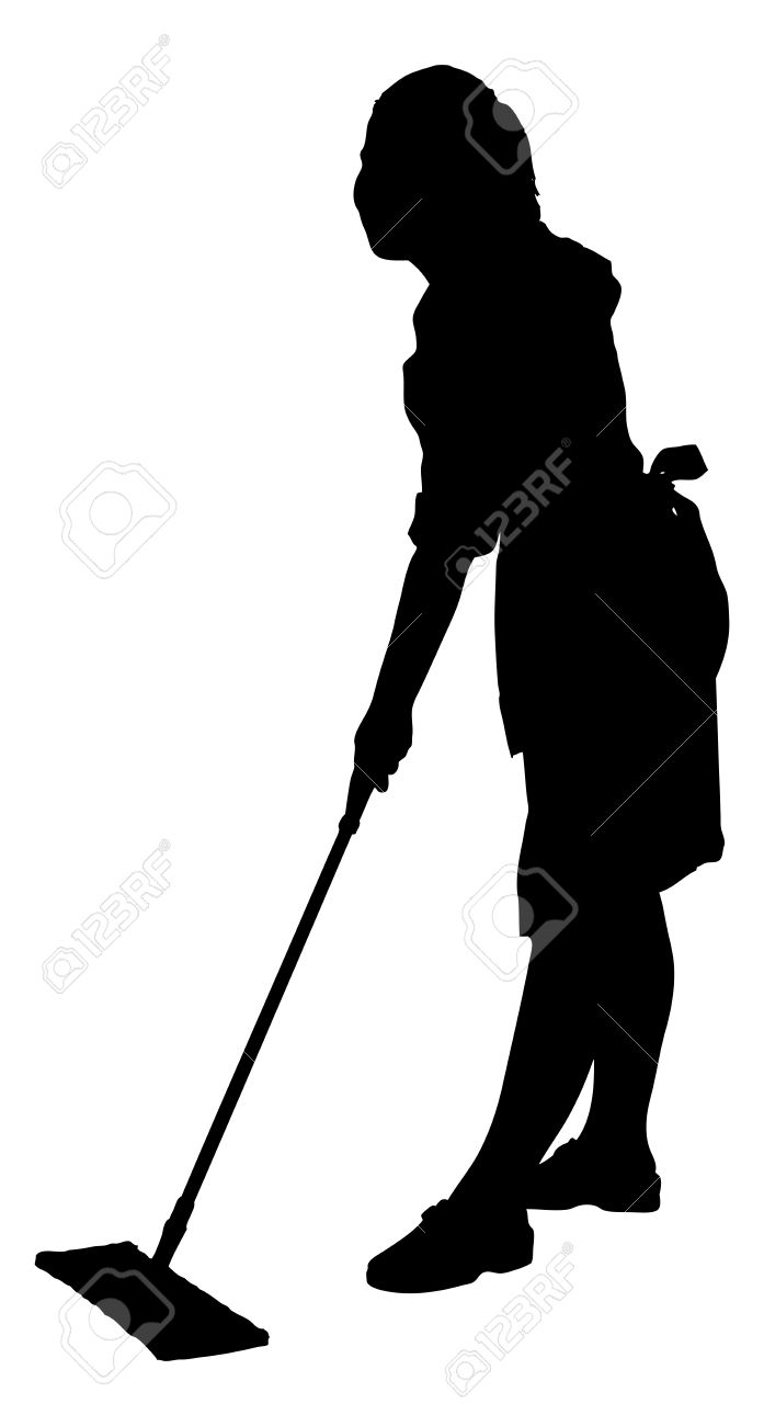 Full length of silhouette maid sweeping floor with mop over white background. Vector image - 31536415
