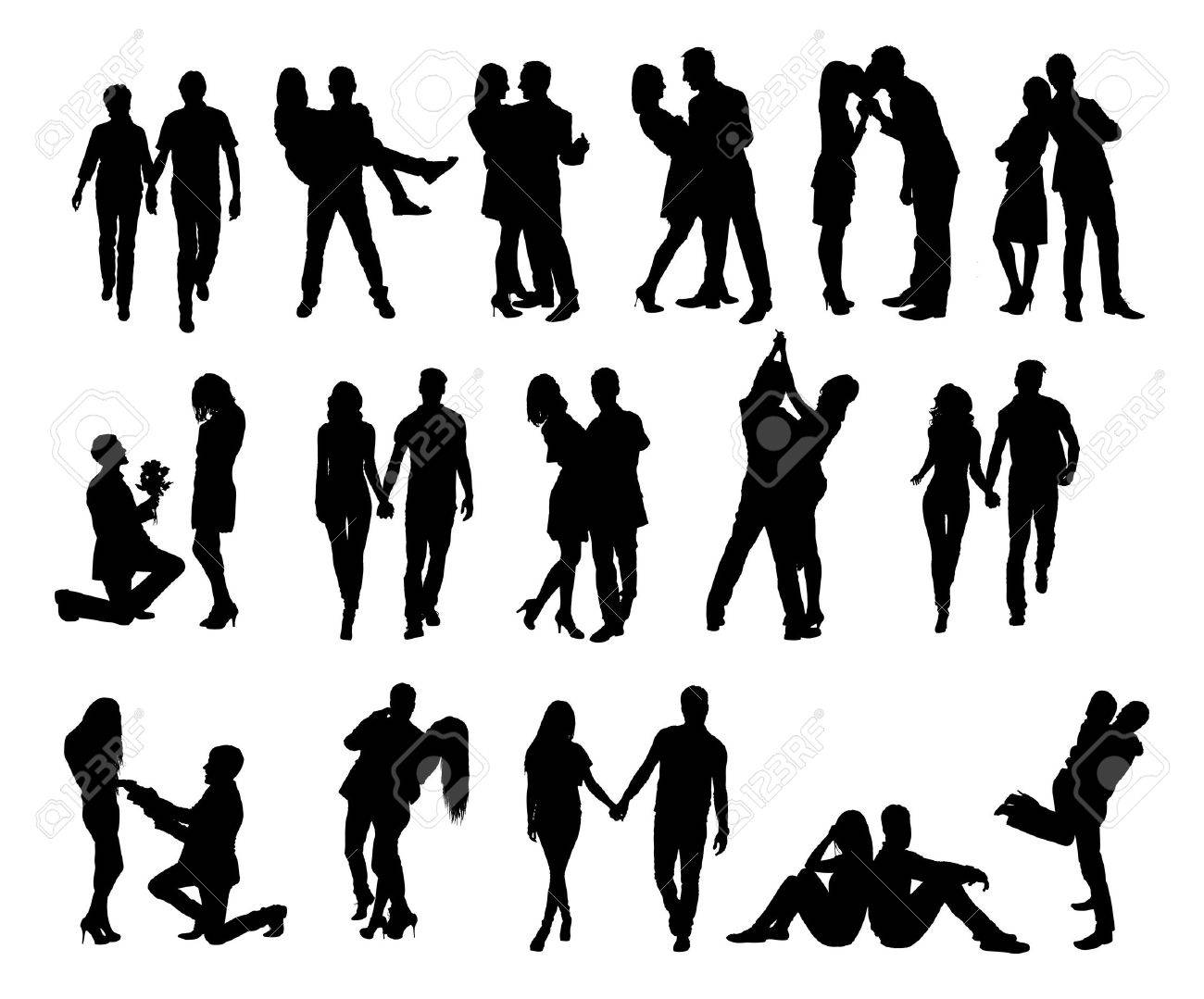 full length of silhouette couple doing various activities against