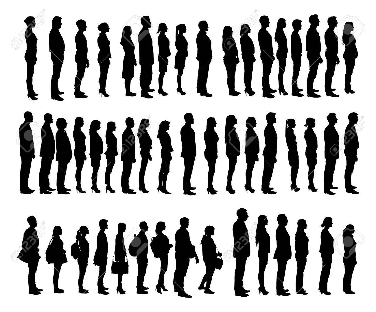 Completely new Collage Of Silhouette People Standing In Line Against White  GT25