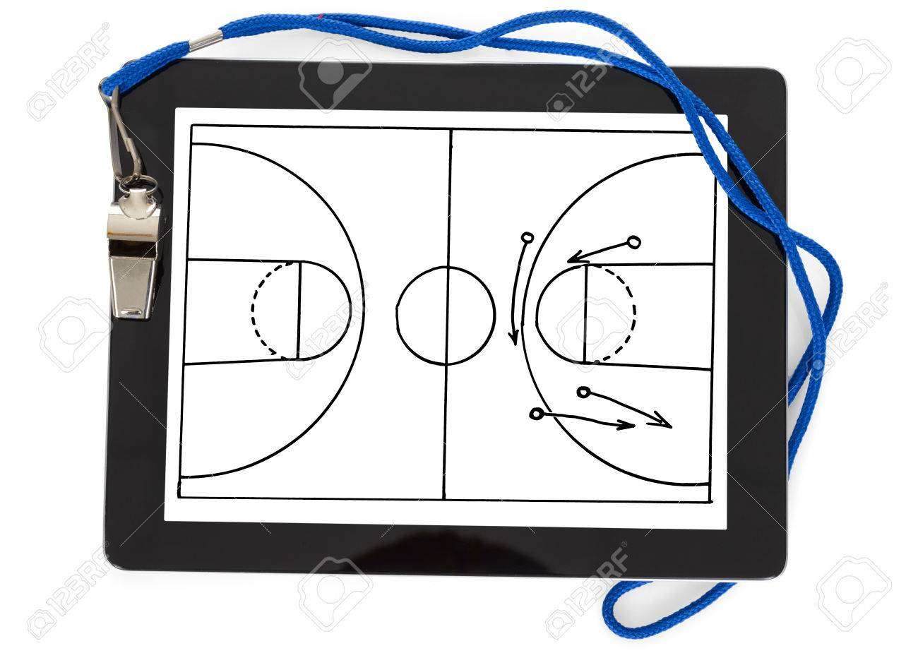 Soccer Tactic Diagram And Whistle On Digital Tablet Isolated.. Stock ...