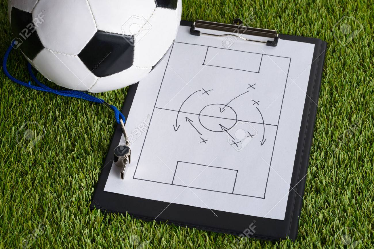 Ball; Whistle And Soccer Tactic Diagram On Paper Over Pitch Stock ...