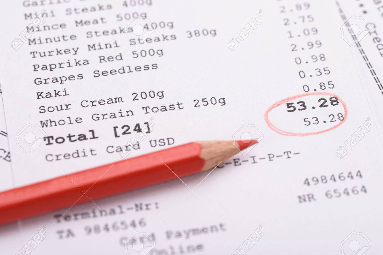close up of generic receipt with total and red marking stock photo 35943329 - Generic Receipt