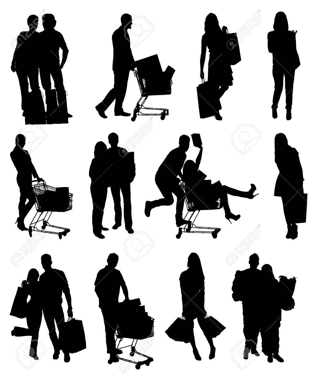 Collage Of People Silhouettes Holding Shopping Bags. Vector Image - 47216017