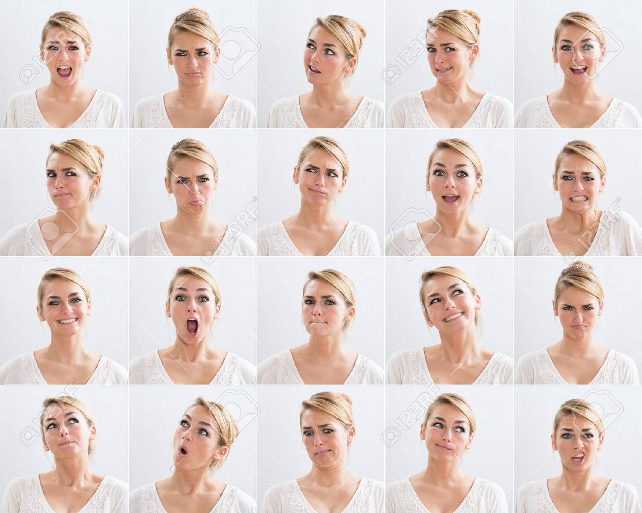Collage of young woman with various expressions over white background - 48644732