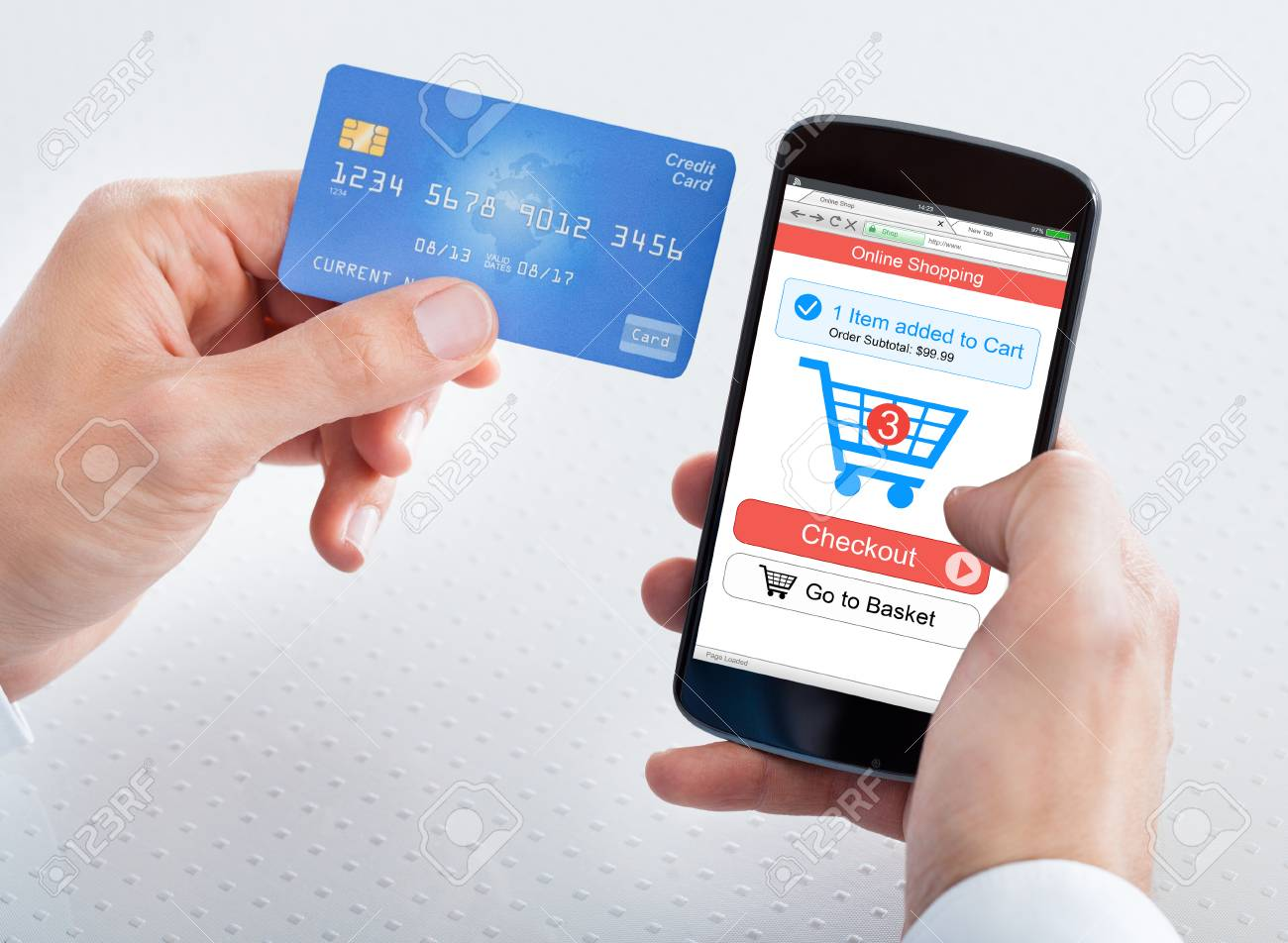 cf5c710da31 Close-up Of A Person s Hand Holding Mobile Phone Shopping Online With Credit  Card Stock
