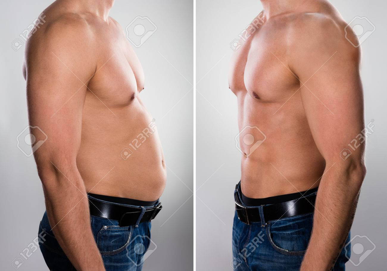 Close-up Of A Man Before And After Loosing Fat On Grey Background Banque d'images - 70448674