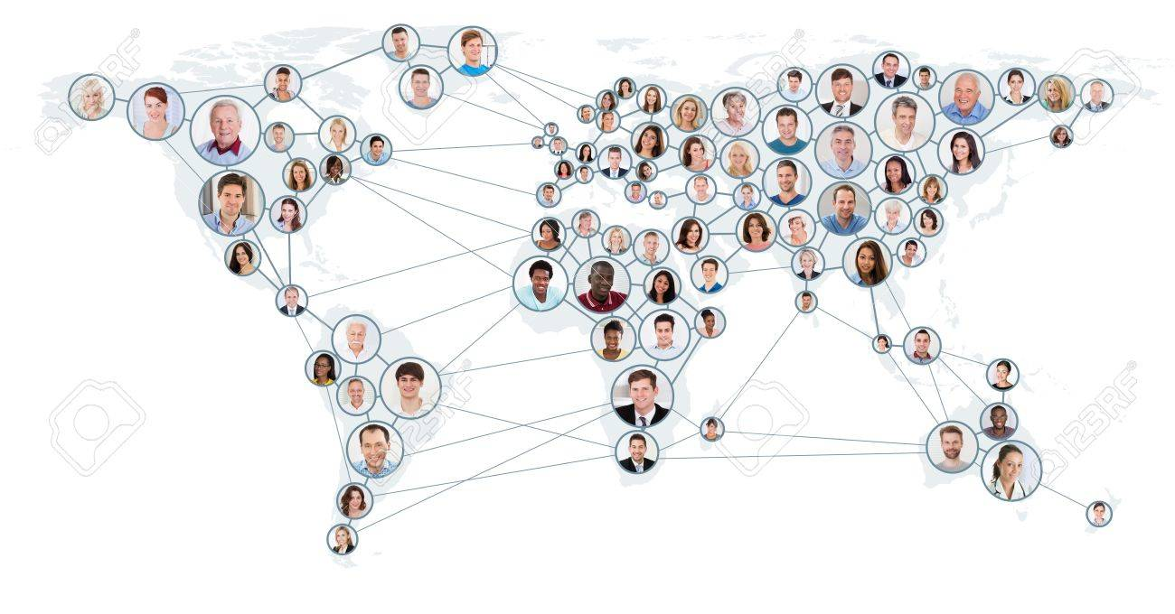 Collage Of People With Network And Communication Concept On World Map. Global Business Concept Standard-Bild - 70448795
