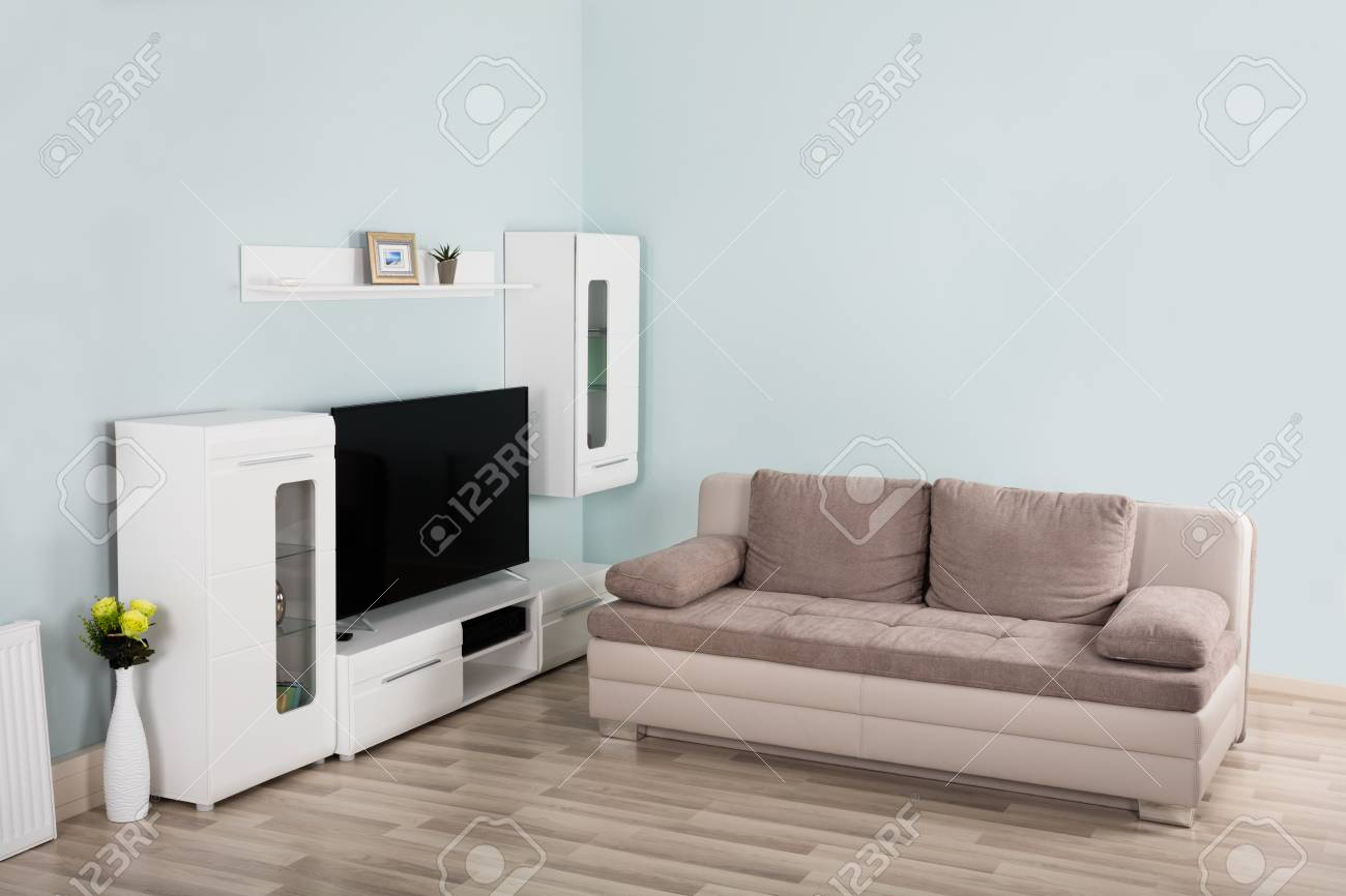 Interior Of Modern Empty Living Room With Sofa And Television Stock Photo Picture And Royalty Free Image Image 70448800