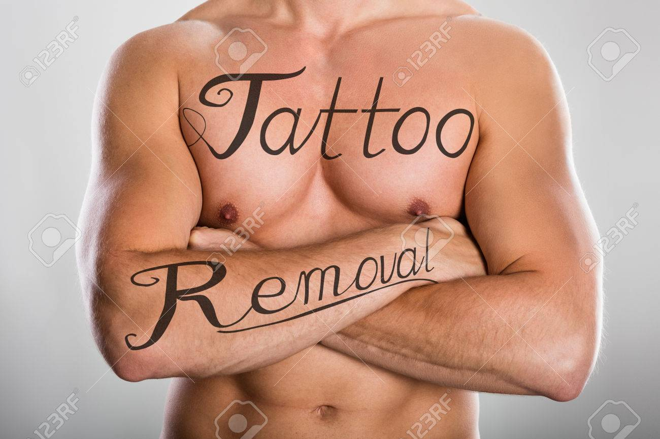 Tattoo Removal Text On Shirtless Man\'s Chest And On His Arm Against ...