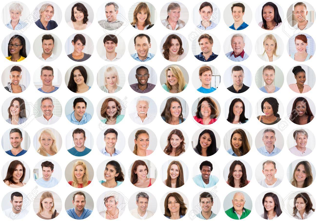 Collage Of Smiling multiethniques gens Portraits et des visages Banque d'images - 70455533
