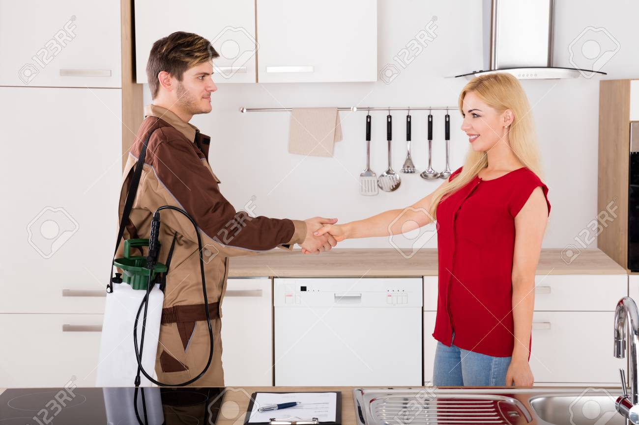 Happy Woman And Pest Control Exterminator Worker Shaking Hands Stock Photo Picture And Royalty Free Image Image 70455552
