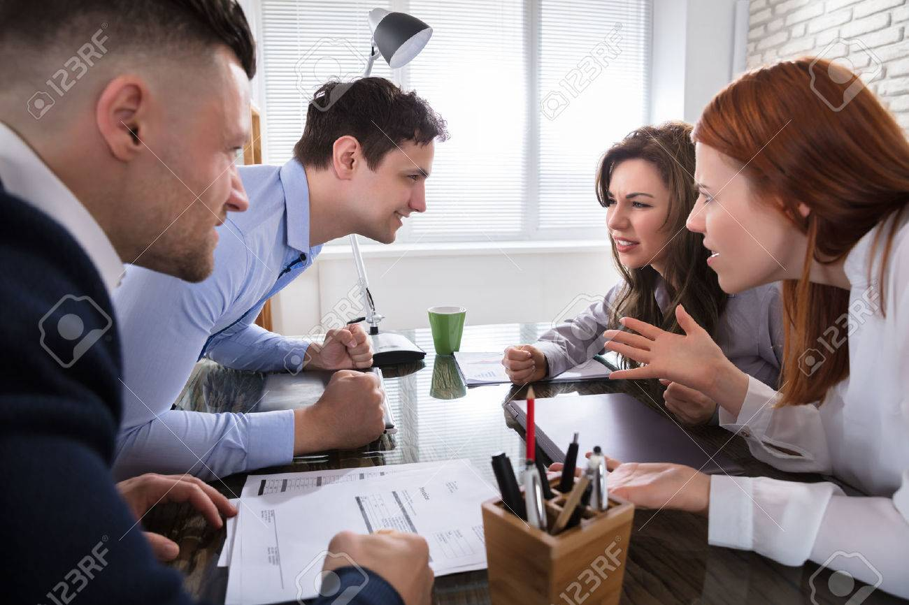 Business Coworker Arguing To Each Other At Workplace In Office Stock Photo - 82718725