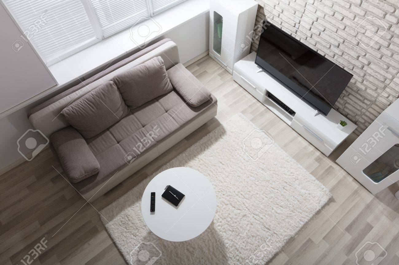 Elevated View Of Modern Apartment With Television And Sofa Stock ...