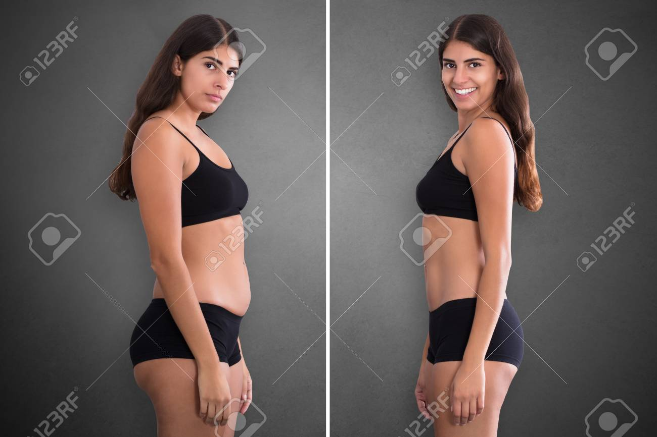 Portraits Of Woman Before And After From Fat To Slim Concept Standing Against Grey Background - 88555043