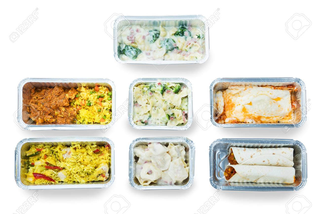 High Angle View Of Tasty Food In Foil Containers Over White Background - 93769316