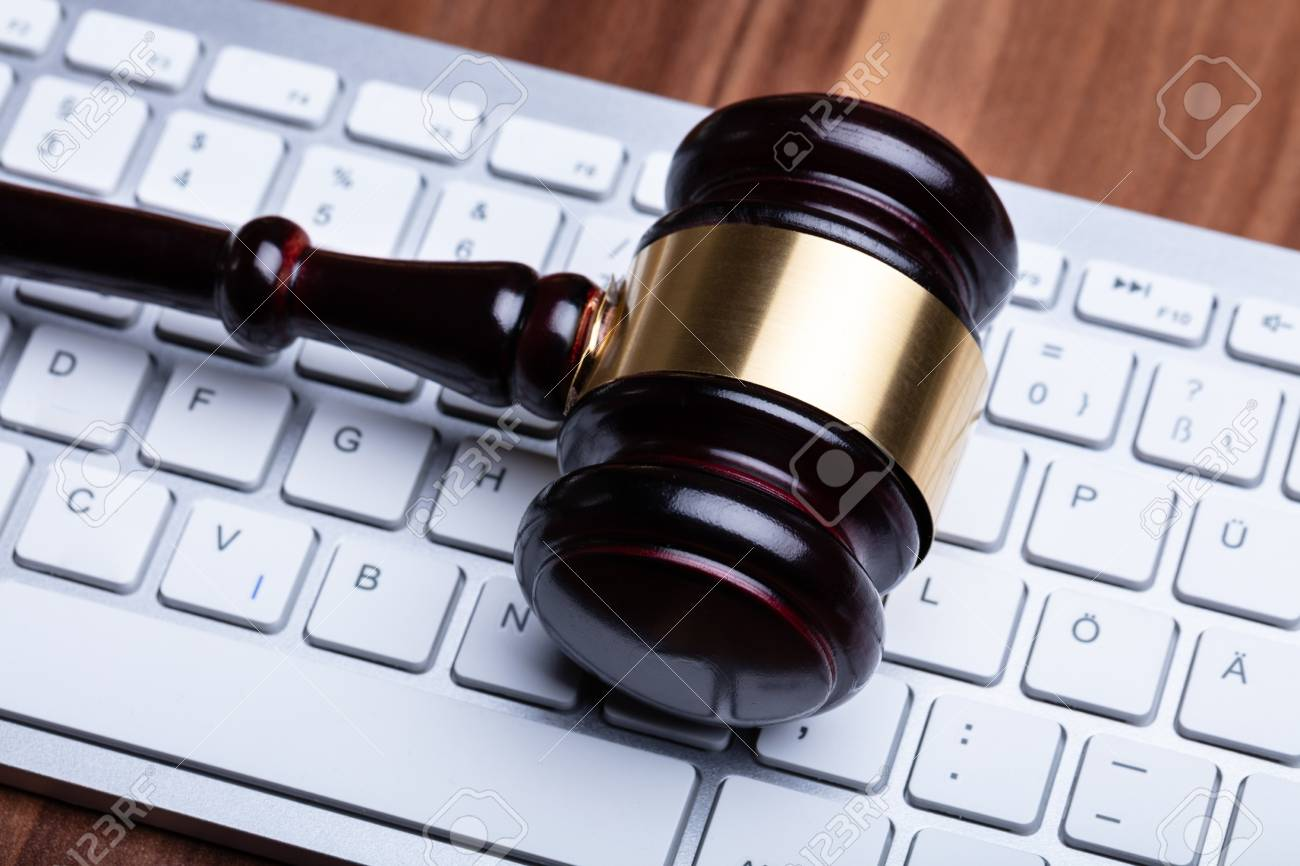 Close-up Photo Of Wooden Gavel On Keyboard - 120158529