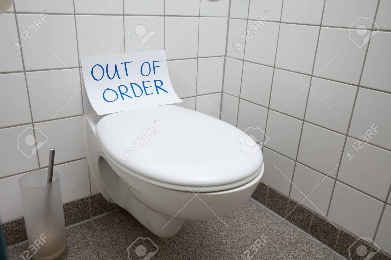 Incredible Written Text Out Of Order Message On Paper Over Toilet Bowl In Spiritservingveterans Wood Chair Design Ideas Spiritservingveteransorg