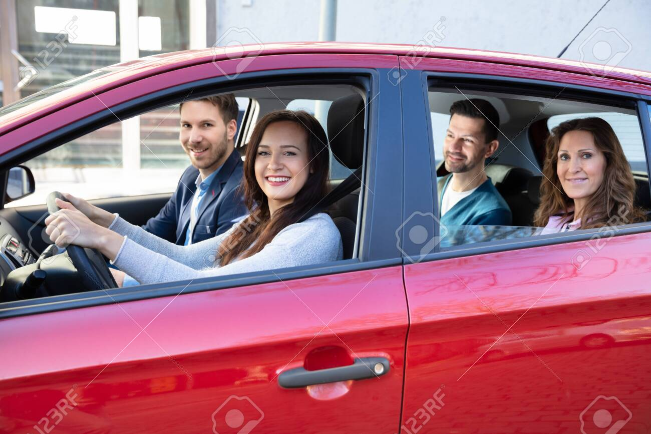 Group Of Happy Friends Having Fun In The Car - 122648066