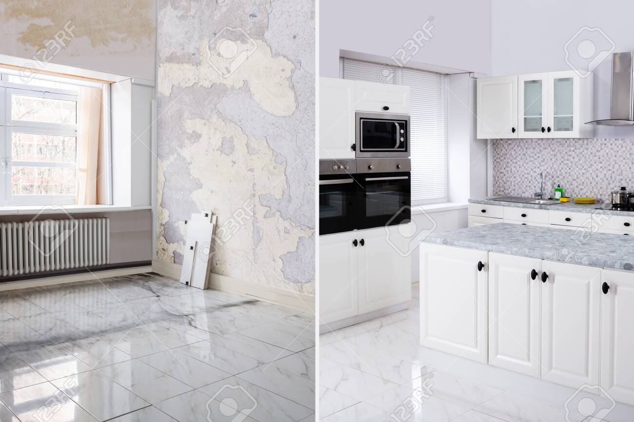 Before And After Of Modern Kitchen Apartment Room In Renovated House - 126998196