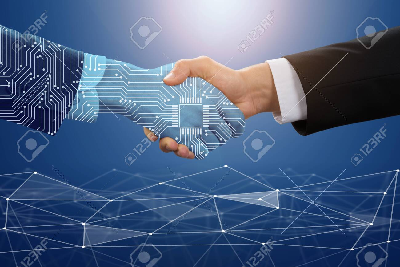 Close-up Of Businessman Shaking Hand With Digital Partners Against Blue Technology Background - 133100129