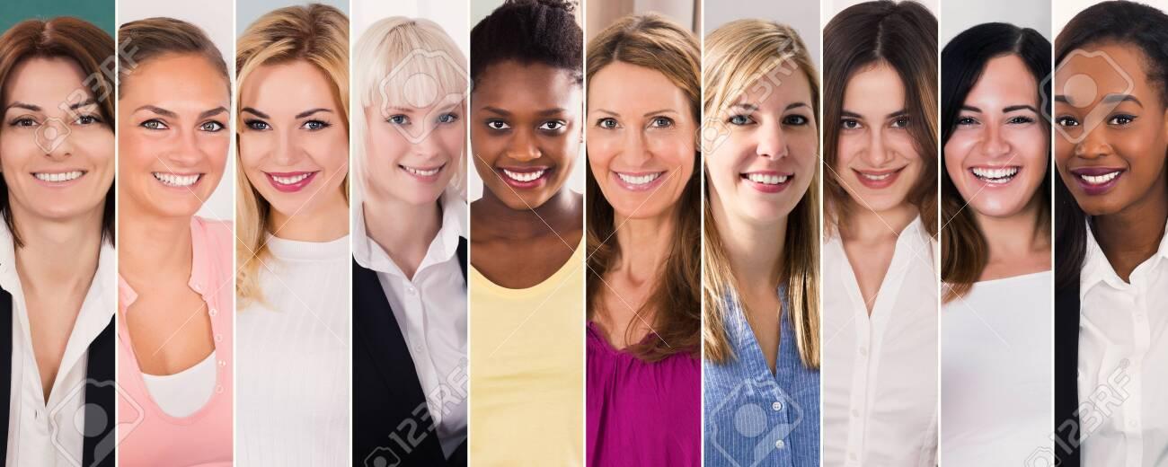 Happy Multi Ethnic Women Collage. Diverse Group Of Women Portraits - 137435406