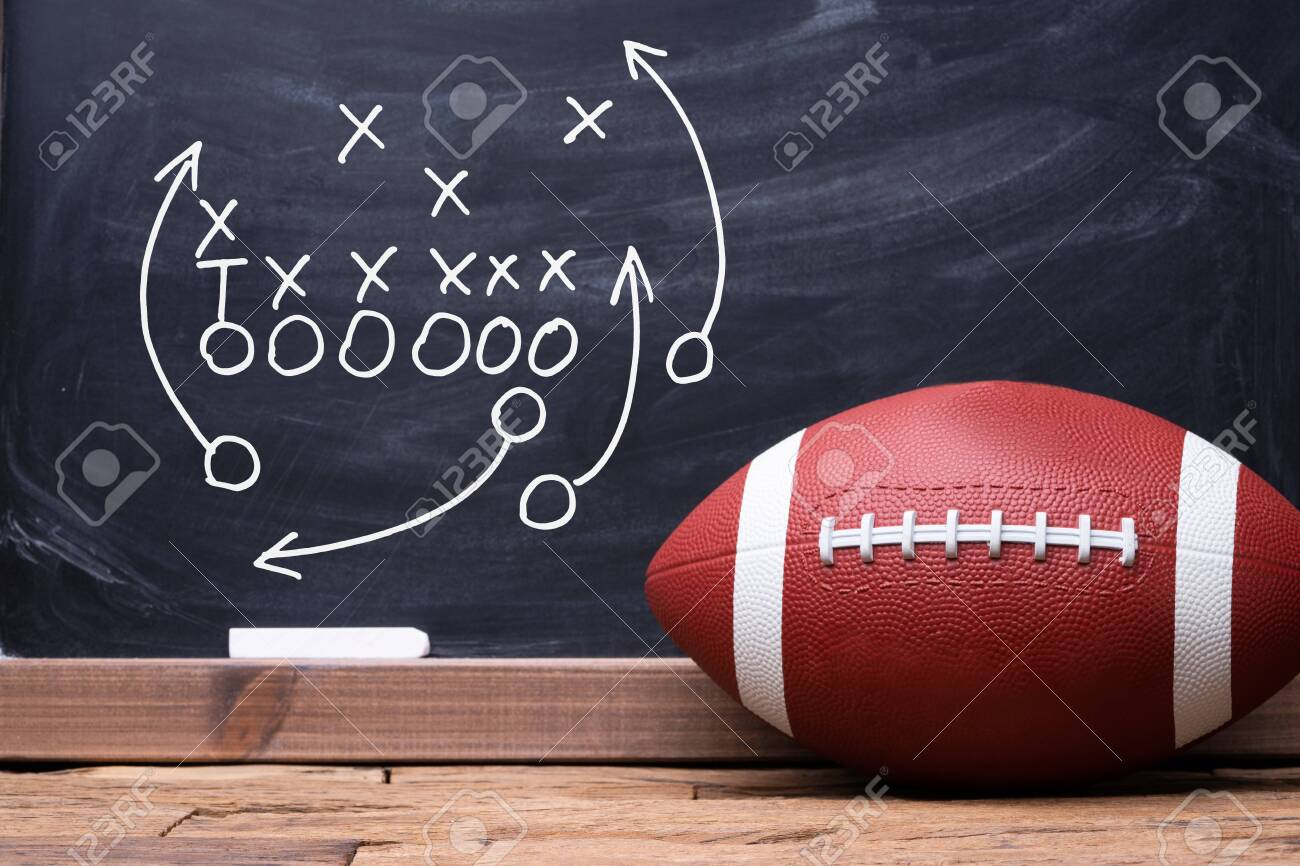 Football Play Strategy Drawn Out On A Chalk Board With Rugby Ball - 140198792