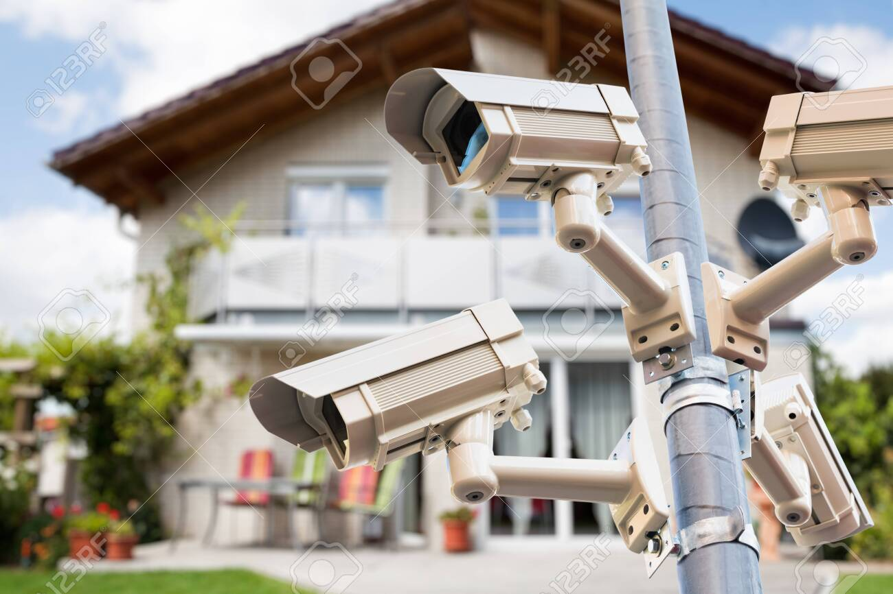 CCTV Security Video Cameras Watching Private House - 153477785