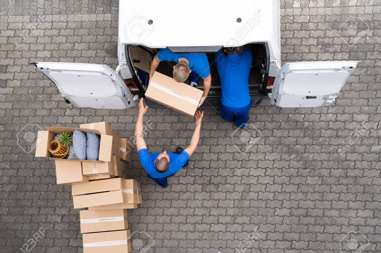 Open Truck Delivery. Mover Men Moving Boxes - 153499203