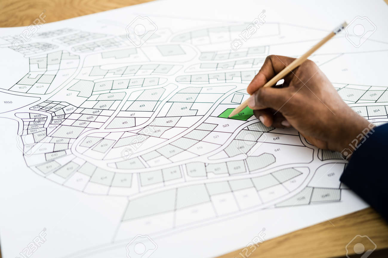 Land Map And Urban Building Project Plan Or Plot - 162399272