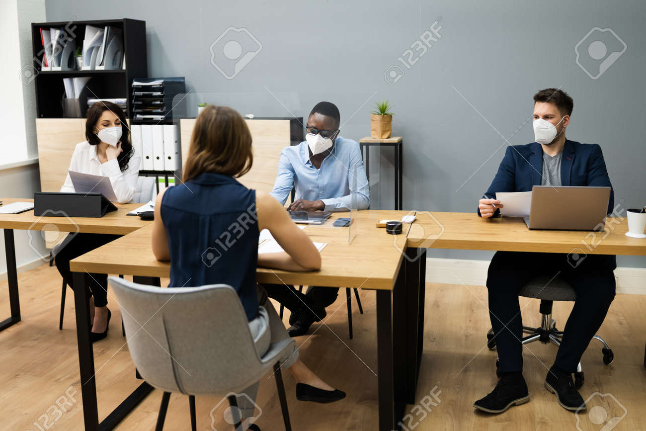 Business Manager Job Interview Talking In Face Mask - 166664386