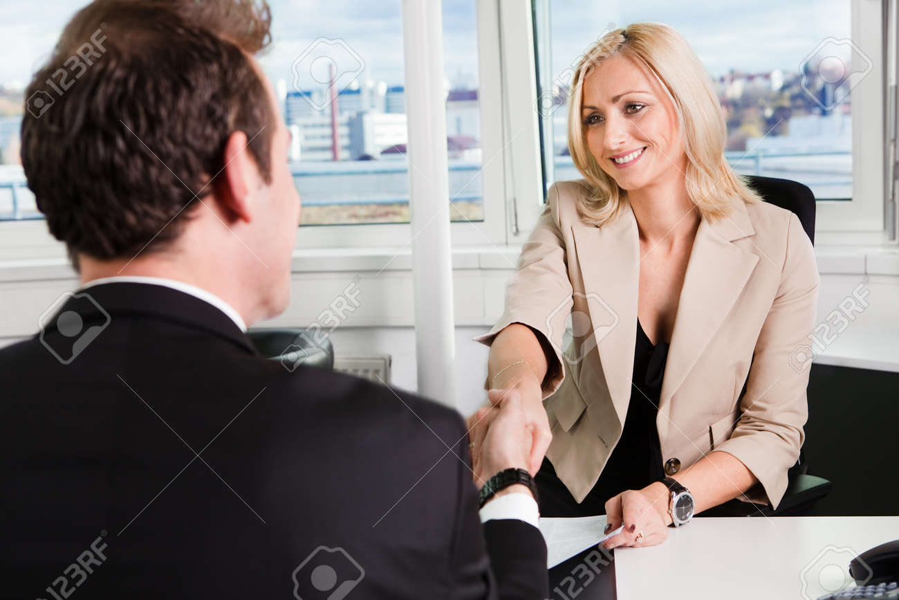 Two businesspeople at an interview in the office - 166662517