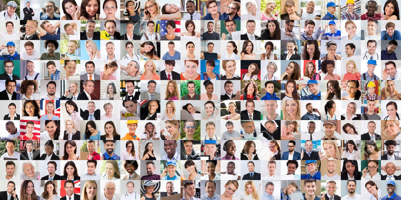 Diverse People Face Or Avatar Portrait Collage - 166660957