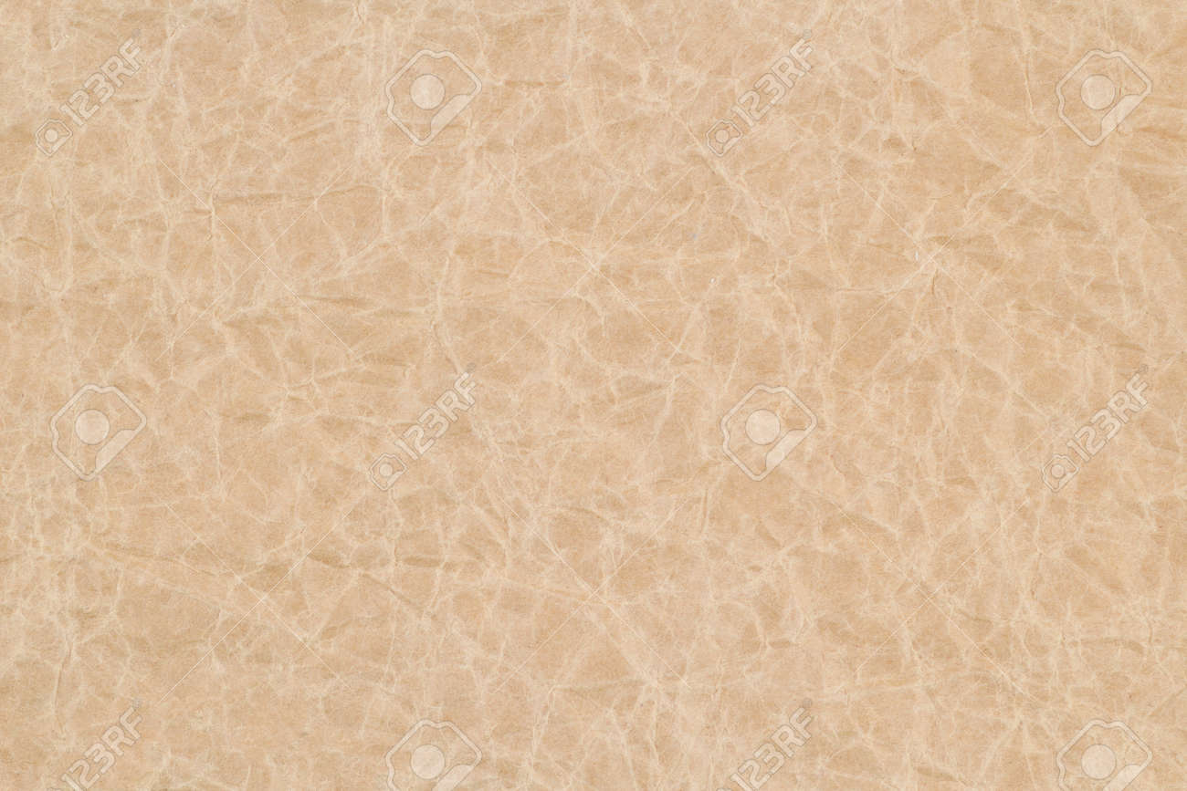 Crumpled paper beige textured sheet for background and design. Wrinkled texture effect. Copy space. - 151166010