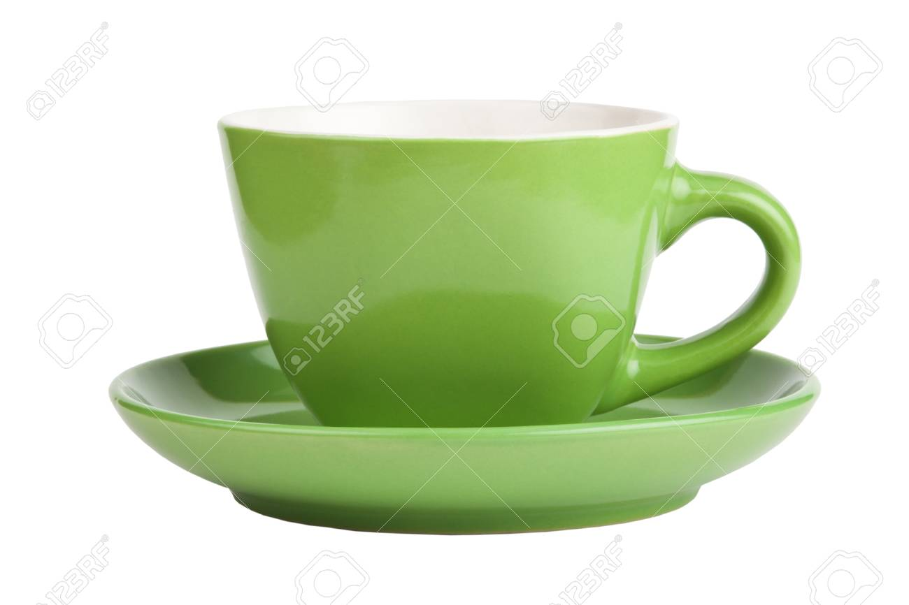 Empty green cup isolated on white, front view Stock Photo - 23311546