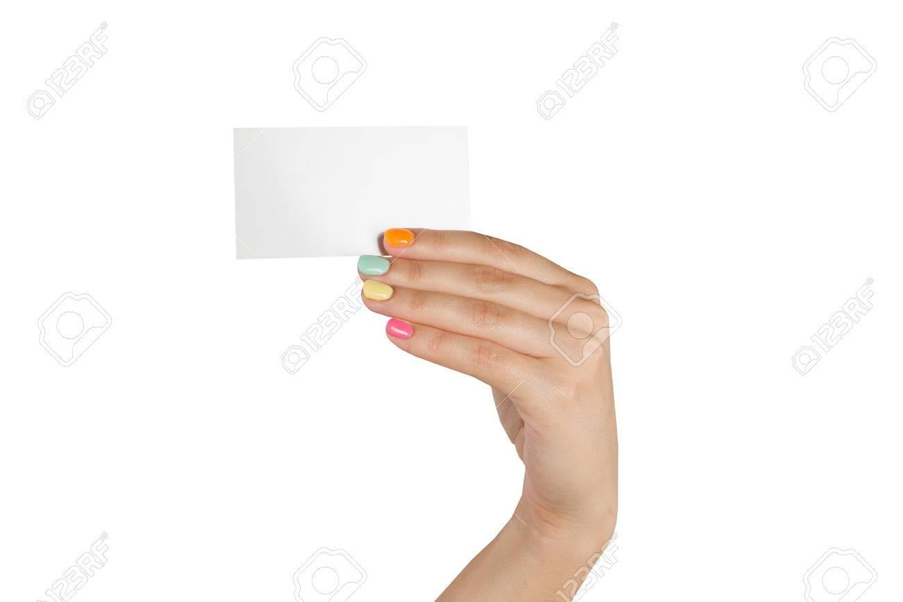 Main Feminine Avec Manucure Multicolore Tenant Une Carte De Visite