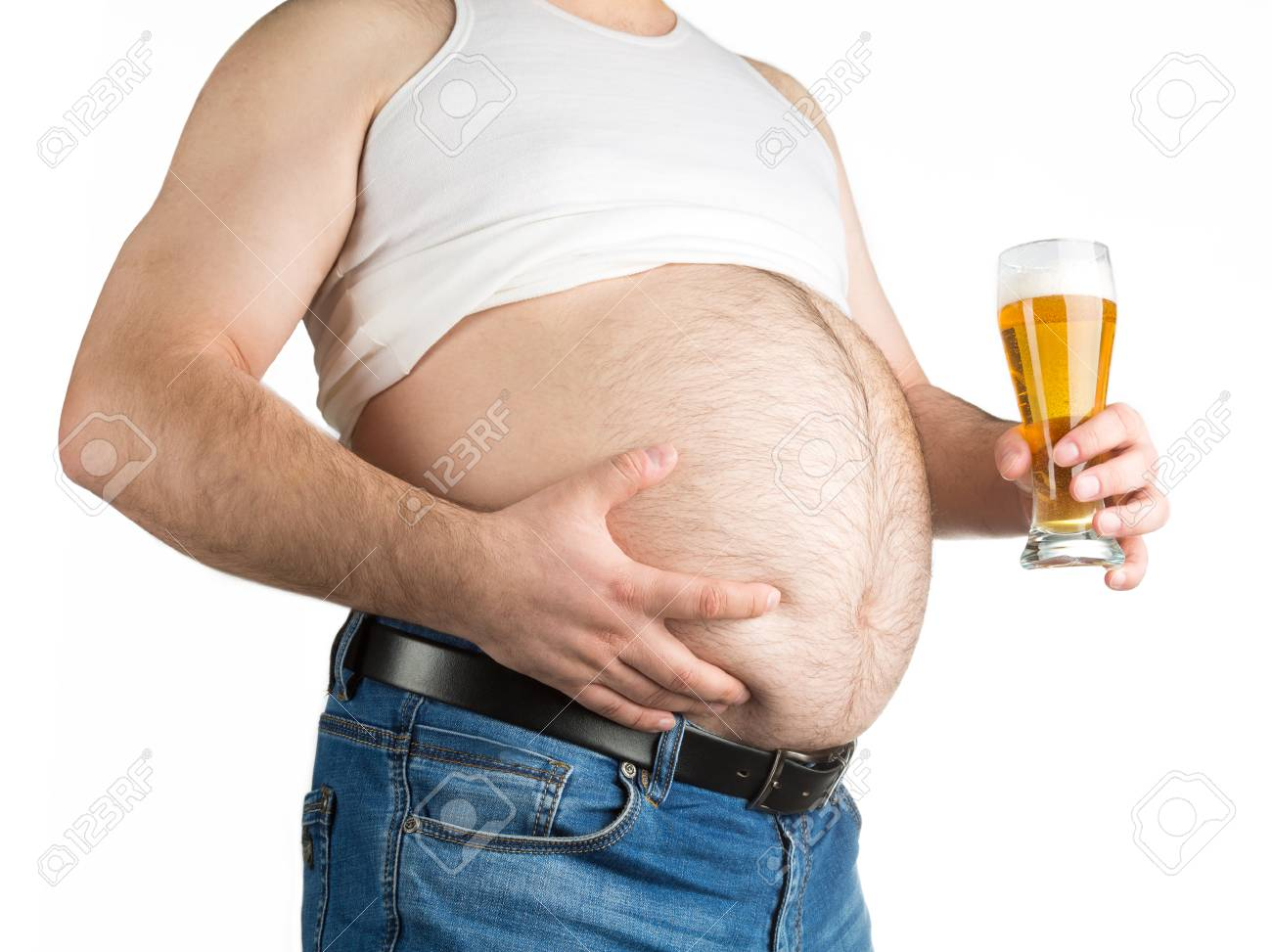 closeup fat belly with beer isolated on white background - 55576989