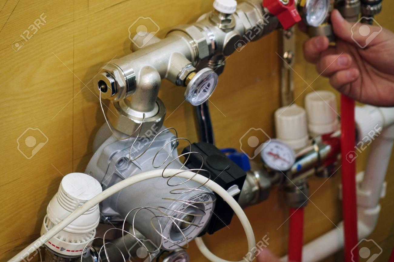 Radiant Floor Heating Installation Heating System. Man Install ...