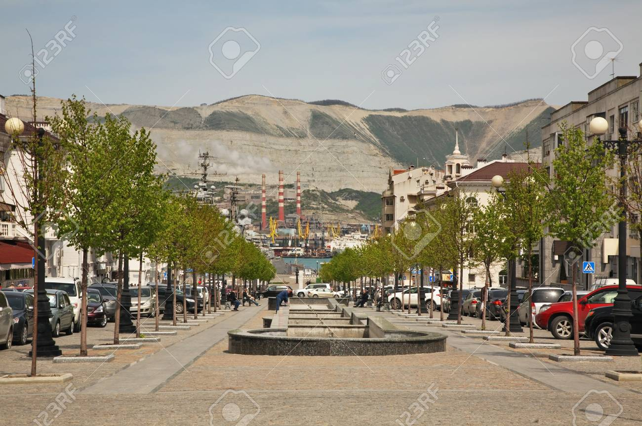 Street Of Novorossiysk Republic In Novorossiysk Krasnodar Region Stock Photo Picture And Royalty Free Image Image 95591178