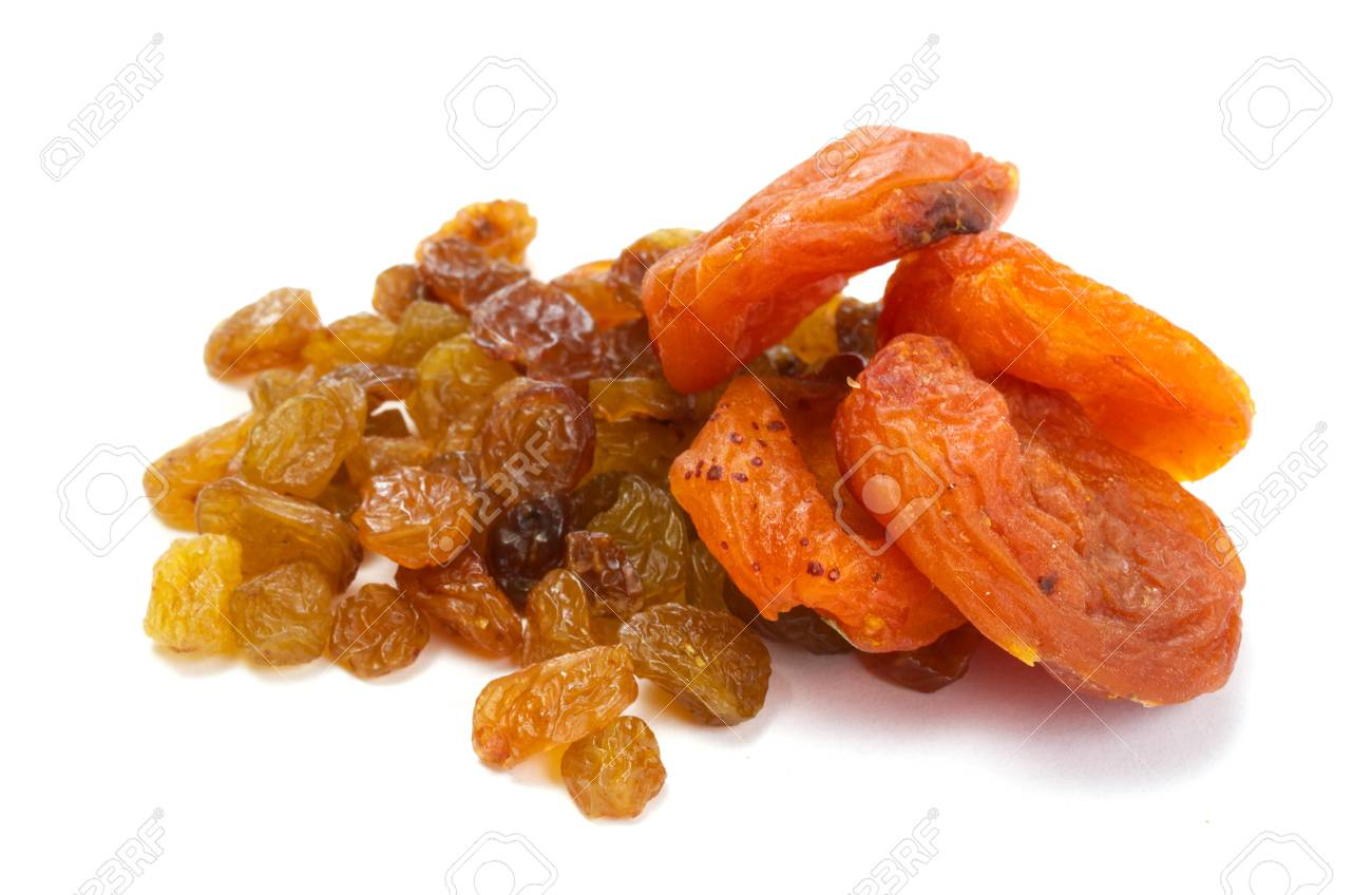 Heap of raisin and dry apricot on a white background Stock Photo - 10681262