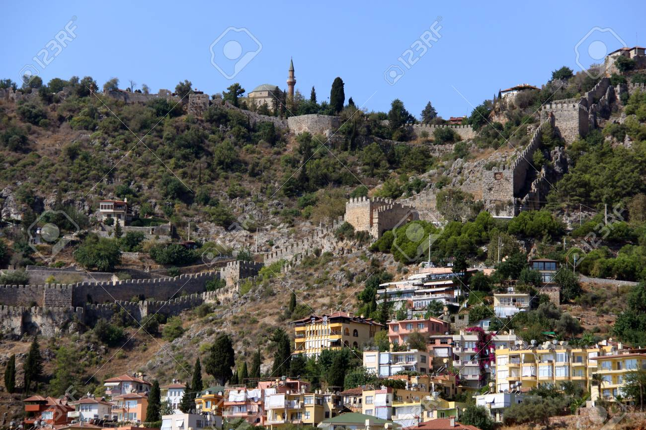 Port Alanya and red brick tower Stock Photo - 10733765