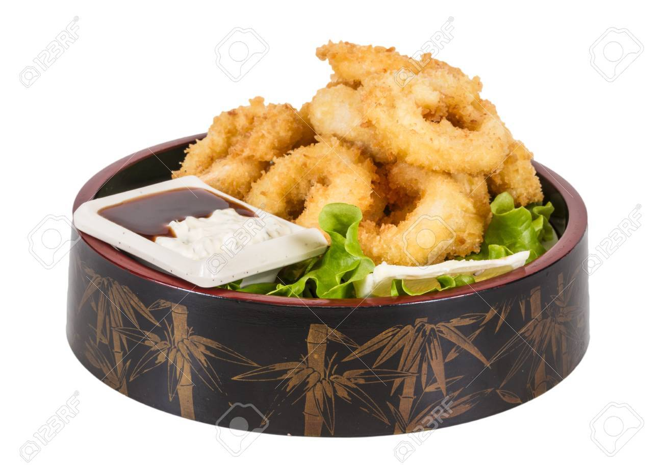 Deep batter fried squid rings calamari with green salad Stock Photo - 14068990