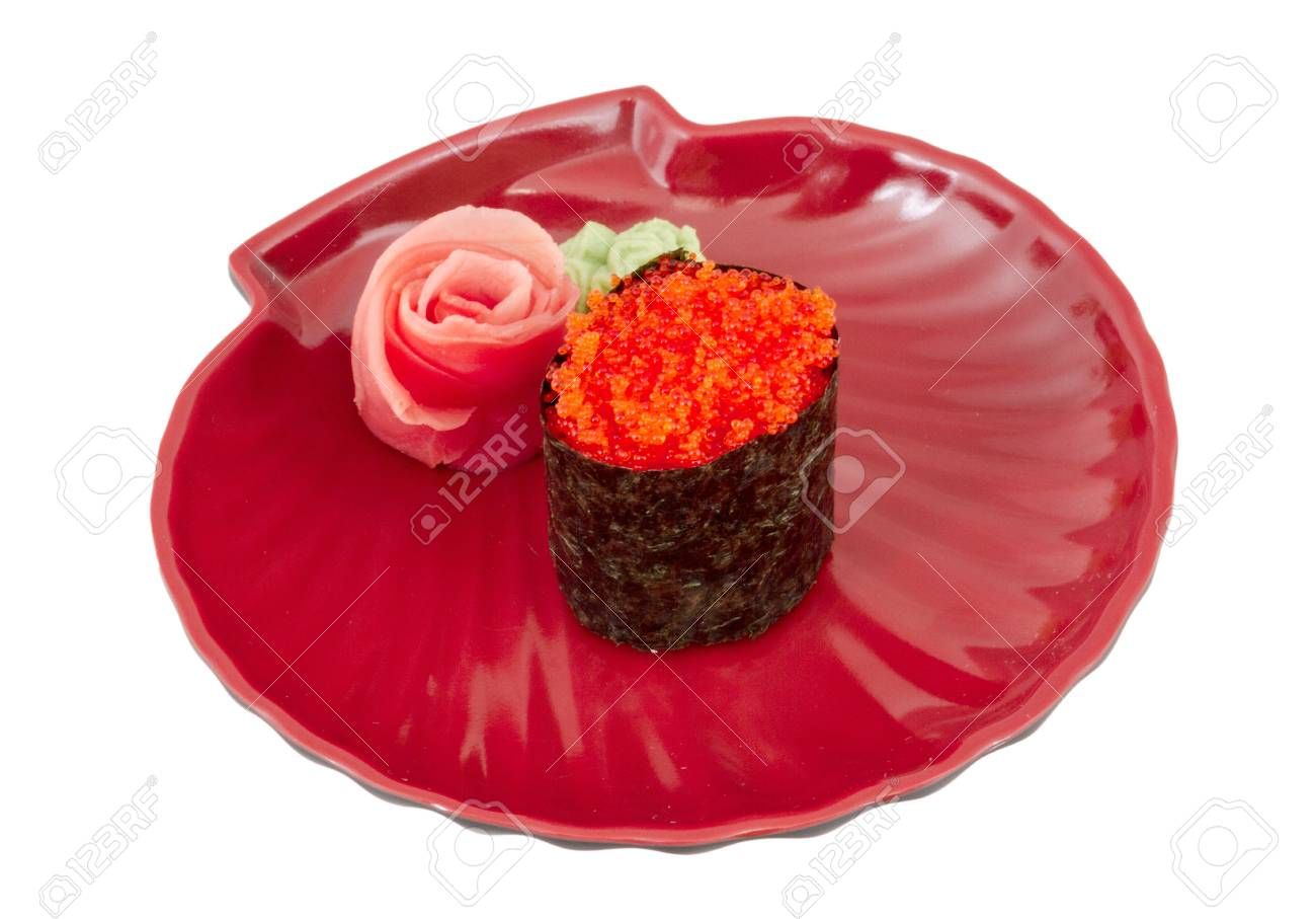 Sushi with fying fish caviar isolated over white background Stock Photo - 14069025