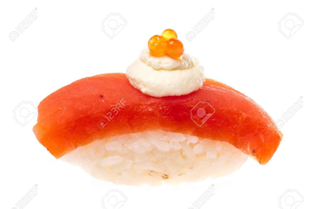 Salmon sushi on a White background Stock Photo - 14069055