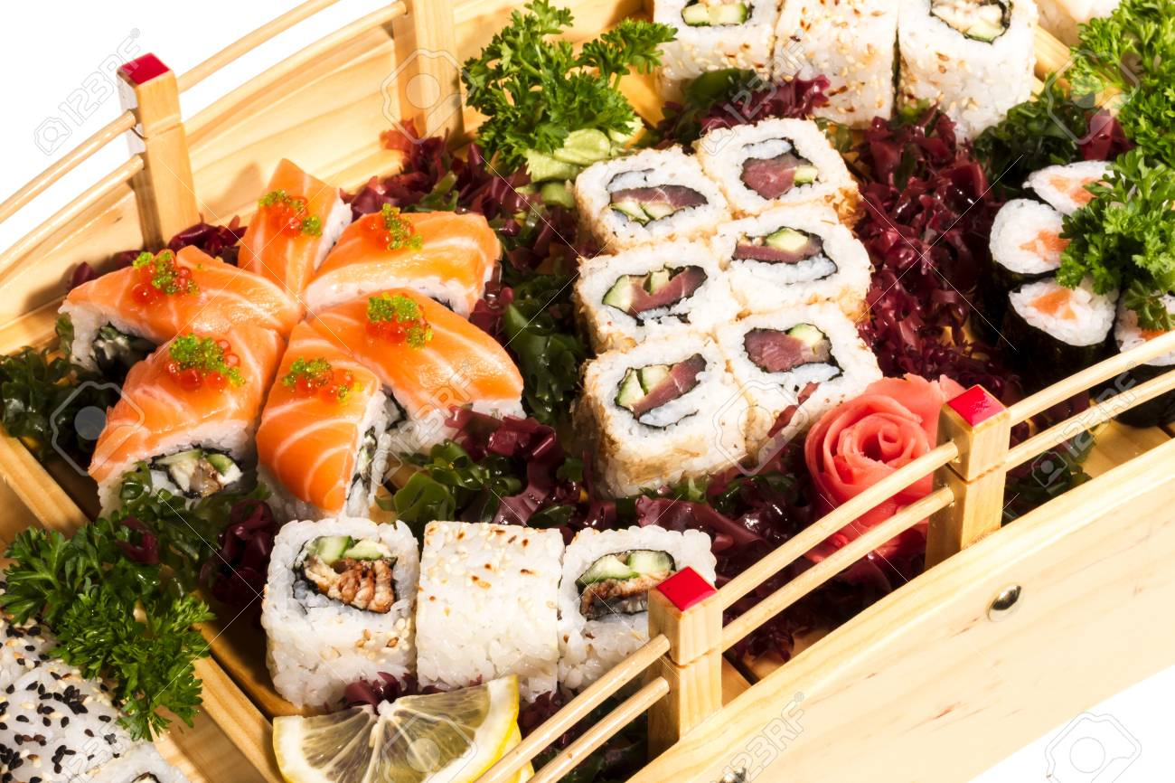 Set of sushi and rolls Stock Photo - 14427879