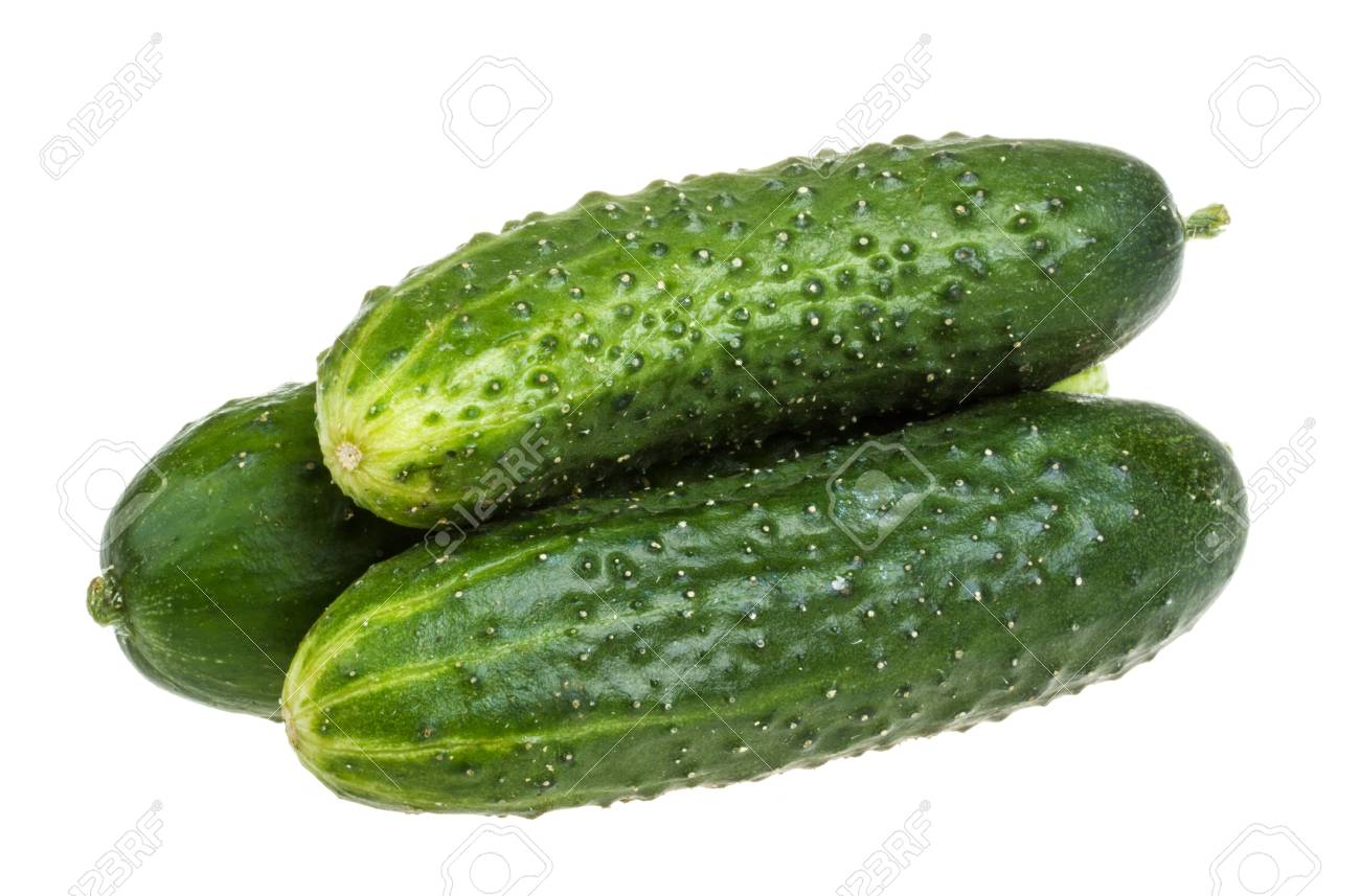 Healthy food. The green cucumbers isolated on white background Stock Photo - 16551018